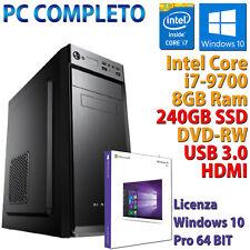 PC COMPUTER DESKTOP INTEL CORE i7-9700 RAM 8GB SSD 240GB DVD-RW HDMI WINDOWS 10