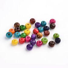 LOT de 400 jolies PERLES MULTICOLORES rondes en BOIS 6 x 5 mm création bijoux