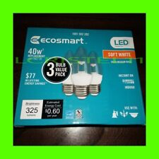 (3-Pack) EcoSmart 40W Equivalent DIMMABLE LED Light Bulb Soft White B11 5W