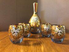 24K Gold Decanter & 6 Glass Set      Handmade & Mouthblown from Venice