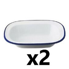 2 x Falcon 20cm Oblong Pie Dish - Enamel - Ideal for camping or home [0114]