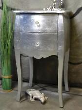 Nachttisch mit 2 Schubladen Pomp Silber barock antik Landhaus H71 cm LV2012
