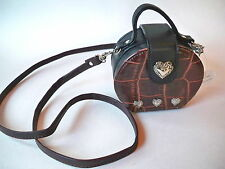 Crossbody Pillbox Purse Small Leather With Hearts Black Brown