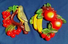 2 Miller Studio ©1952 Chalkware Wall Hangings BIRD w/Cherries Banana Apple FRUIT