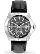 Bulova 96C113 Marine Star Men's Multi-Function Black Leather Strap Quartz Watch