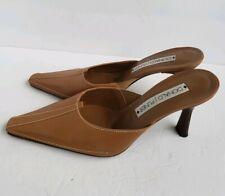 Donald J Pliner Womens Leather Mules Slides 3 Inch Heels MQTS-4 Brown Size 9M