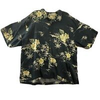 TOMMY BAHAMA Mens XXL Hawaiian Camp Shirt 100% Silk Hibiscus Palms Black Yellow