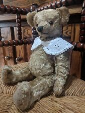 Antique UK Portobello Road Market Teddy Bear 1930s Wool Silk Plush Glass Eyes
