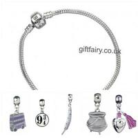 New Official Genuine Harry Potter Silver Plated Charm Bracelet-Medium & 5 Charms