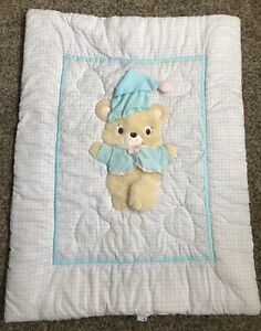 Vintage 80's Lambs And Ivy Teddy Bear Baby Crib Blanket Quilt And Wall Hanging