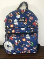 "Nintendo Super Mario Bros. All Over Print 16"" Backpack School Book Bag **NEW**"