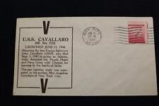 NAVAL COVER 1944 MACHINE CANCEL WORLD WAR 2 LAUNCH USS CAVALLARO (DE-712) (1816)