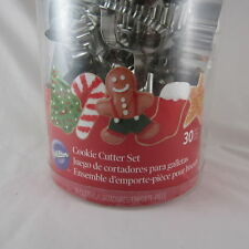 WILTON 30 Piece Christmas Cookie Cutter Set Santa Snowflake Candy Cane NEW