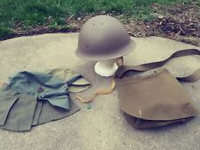 WWII Imperial Japanese Steel Helmet & Liner with Bread bag, 2 caps + badge Repro