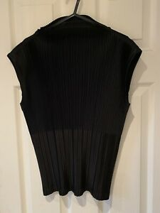 Issey Miyake Pleats Please Black High Neck Top - Size 3