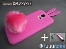 Funda de Silicona Conejo Rosa con Cola para Samsung Galaxy S5 + LÁPIZ