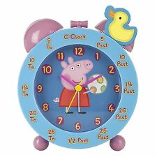 PEPPA PIG TIME TEACHING ALARM CLOCK PINK BLUE KIDS CHILDRENS
