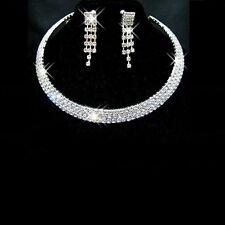 Wedding Jewelry Jewellery Set Sparkling  Diamante Necklace Stud Earrings SETS UK
