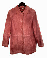Travelsmith Red / Burgundy Genuine Suede Leather Medium Blazer Jacket Women Coat