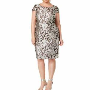 CALVIN KLEIN NEW Women's Plus Size Damask Embroidered Sheath Dress 24W TEDO