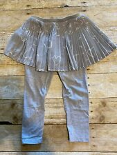 Dip Girls 4T Heather Gray Leggings Attached Pleated Heart Print Skirt