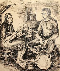 Vintage ink painting impressionist family portrait