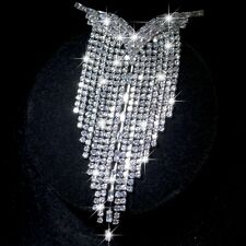 18k white gold made with Swarovski crystal tassel luxury brooch fashion pin XL