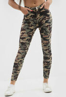 Womens Camouflage Skinny Stretch Ripped Jeans