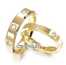 18K YELLOW GOLD MATCHING HIS & HERS WEDDING BANDS DIAMONDS RINGS MENS WOMENS SET