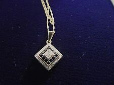 9ct 9k Gold - Sapphire & diamond Gold Necklace - Fully Hallmarked.