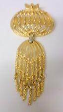 Vtg Avant-Garde Monet Gold Dangle Drop Tassel Fringe Large Jellyfish Pin Brooch