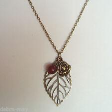 "Red Quartz Bronze Rose and Filigree Leaf Cluster Pendant Chain Necklace ~ 32"""
