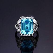 18ct White Gold Stunning Natural Blue Topaz & Diamond Ring VVS Beauty