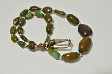 Vintage Native American Sterling Silver Green Turquoise Graduated Bead Necklace