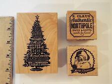 3 NEW-lot-inkadinkado holiday tree wordplay & studio g wood stamps-christmas-san