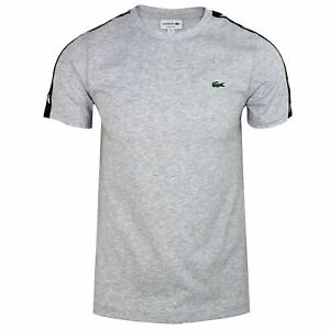 LACOSTE TAPE T-SHIRT MENS GREY CREW NECK TEE