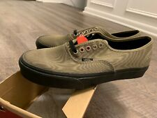 New Vans Authentic Metallic Twill Slate Green Mens Size 9 Black Skate Shoes