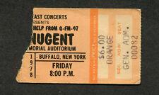 Original 1978 Ted Nugent  concert ticket stub Buffalo NY Cat Scratch Fever