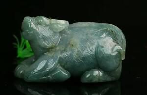 Cert'd Green Natural Grade A Jade jadeite Sculpture Statue buffalo a109542
