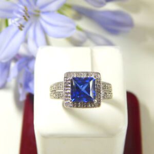 2.20 Ct Blue Sapphire Gemstone Diamond Band Solid 14K White Gold Ring Size M N O
