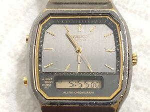 Vintage Seiko Chronograph Alarm Analog Digital Quartz Black Watch Day Date Men's