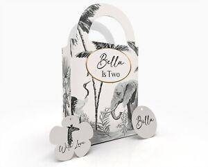 Personalised Safari Animals Children Party Bag Gift Favour Box Treat Bag