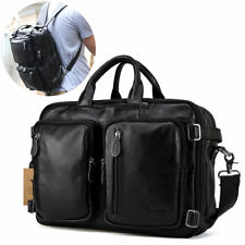 "Top Grain Leather 14"" Laptop Briefcase Backpack Shoulder Bag Expandable Satchel"