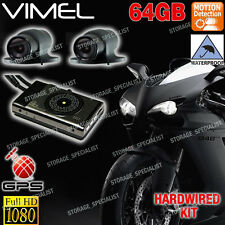 Motorcycle Dual camera MotorBike Dash Car GPS Waterproof Hardwired Kit Truck