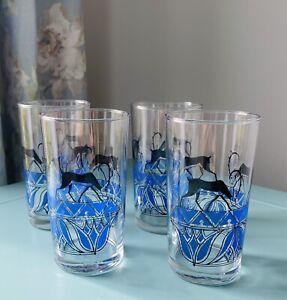 Vintage Set Of English Deer Blue Gazelle Tumbler Glasses Hi Ball 250ml 1970's Re