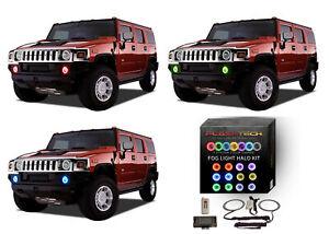for Hummer H3 06-10 RGB Multi Color RF LED Halo kit for Fog Lights