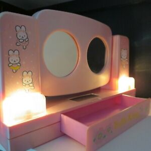 Vintage Pink Hello Kitty Drawer Vanity Mirror & Side Lights, 1976-2001 Sanrio