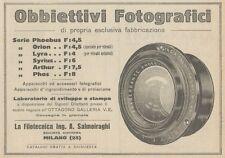 Z1758 Obbiettivi Fotografici Ing. SALMOIRAGHI - Pubblicità d'epoca - 1923 Old ad