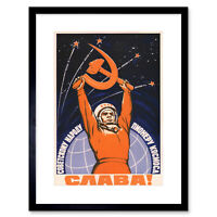 Propaganda Cosmonaut Gagarin USSR Red Communism Framed Wall Art Print