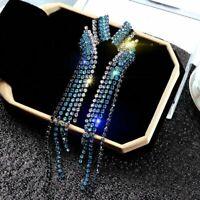 Fashion Blue Crystal Earrings Long Tassel Geometric Drop Dangle Stud Women Gift